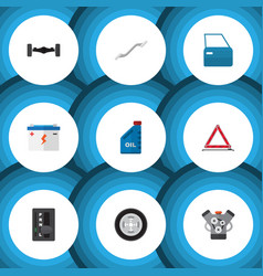 flat icon auto set of warning petrol automatic vector image