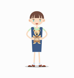 Girl is holding a dog in her arms vector