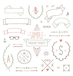 hipster set ribbon vector image