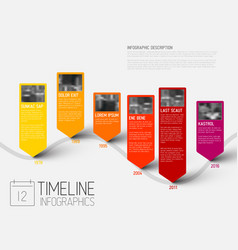 Infographic timeline report template with photos vector