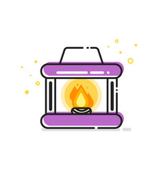 Line art of fireplace vector