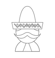 Man with sombrero mexico culture icon image vector