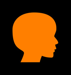 people head sign orange icon on black background vector image