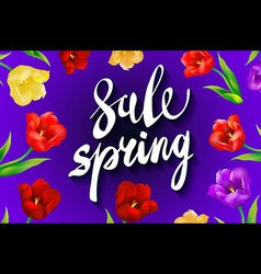 Sale banner with paper flowers and gold frame vector image vector image