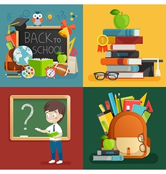 School theme set back to school backpack schoolboy vector