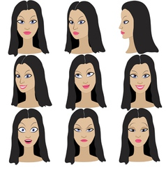 Set of variation of emotions of the same girl vector