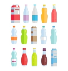 Set of Variety Bottles and Packs with Beverages vector image vector image