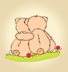 teddy bears hug vector image