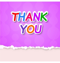 Thank plate on a purple background vector image