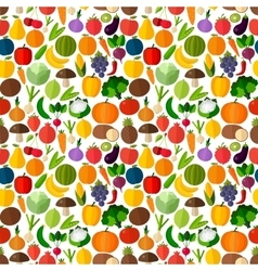 Vegetables and fruits seamless pattern vector image