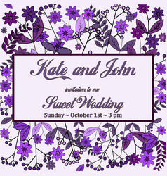 Wedding invitation card with flower templates vector