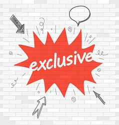 White brick wall and graffiti label exclusive vector