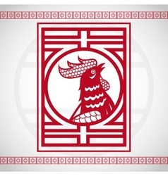red rooster chinese zodiac calendar vector image
