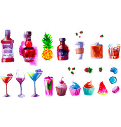 alcohol and sweets watercolor vector image