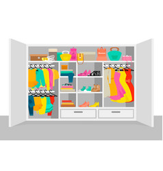 Colorful woman wardrobe elements concept vector