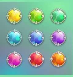 Beautiful colorful cartoon crystal round buttons vector