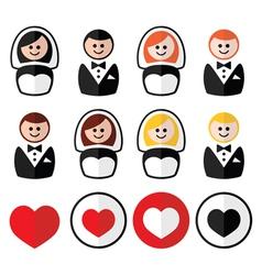 Groom and bride wedding icons - black blonde vector image
