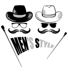Mens sunglasses hat and cane vector