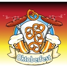 Oktoberfest label with beer pretzels and sausages vector