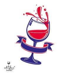 Alcohol theme art 3d realistic wine goblet vector