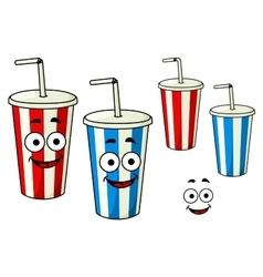 Cartoon takeaway soda striped cups vector
