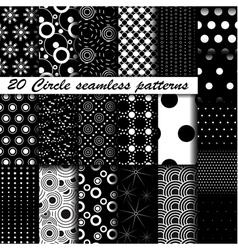 20 Monochrome circle seamless patterns vector image