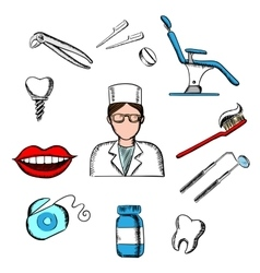 Dentistry medicine with dentist and objects vector