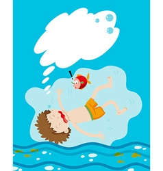 Boy drowning under the water vector