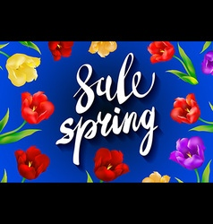 Spring sale background with tulips and daisies eps vector