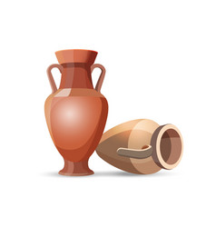 Amphora vases isolated clay jars egyptian style vector