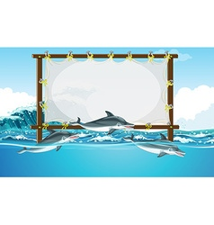 Border design with three dolphins swimming vector image vector image