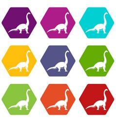 brachiosaurus dinosaur icon set color hexahedron vector image vector image