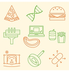 Causes of obesity icon set vector