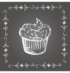 Chalk cupcake with sprinkles and vintage frame vector