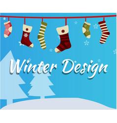 christmas socks on snowfall background vector image