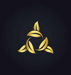 Circle leaf gold logo vector