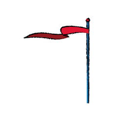 Circus red flag pole waving vector