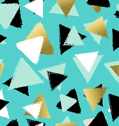 Colorful seamless pattern with gold triangles vector image vector image