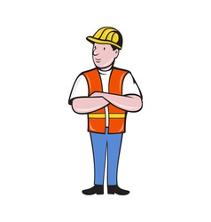 Construction worker with arms folded vector