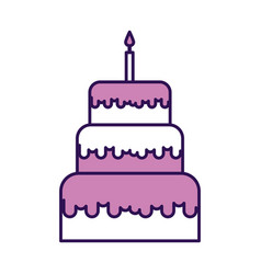 Cute purple birthday cake cartoon vector