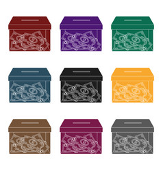 donation moneybox icon in black style isolated on vector image vector image