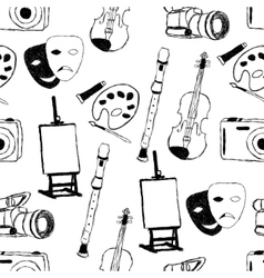 doodle art seamless pattern vector image vector image