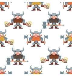 Dwarfs with beer mugs and axes seamless vector image