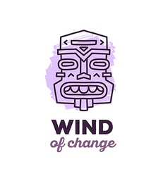 Ethnic tribal purple color mask with text vector
