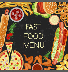 fast food menu restaurant banner vector image