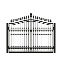 Fence wrought iron gate old style door vector
