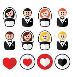 Groom and bride wedding icons - black blonde vector
