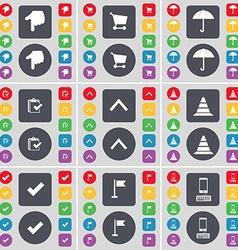 Hand Shopping cart Umbrella Survey Arrow up Cone vector image vector image