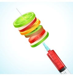 Healthy Fruit in Syringe vector image vector image