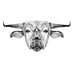 image of an outline cow on white background vector image